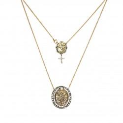 Colar Monica Di Creddo Sacra Medalha Arcanjo Gabriel Ouro Vintage