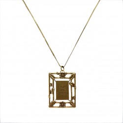 Colar Monica Di Creddo Sacra Medalha Moldura Ouro Vintage