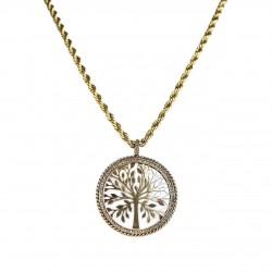 Colar T.Arrigoni Medalha Árvore da Vida Curto Ouro Vintage