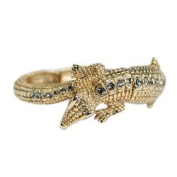 Pulseira S&B Acessórios Crocodylia Cristais Ouro Vintage