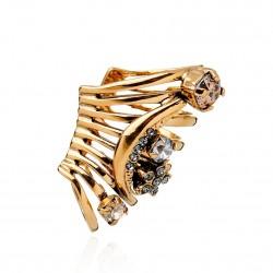 Brinco Monica Di Creddo Ear Cuff Flor de Lis Glam Ouro Vintage
