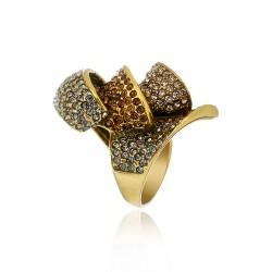 Anel Claudia Arbex Maria Cristais Ouro Vintage