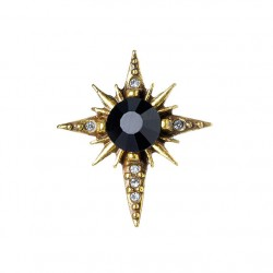 Brinco Claudia Arbex Star Piercing Cristais Ouro Vintage