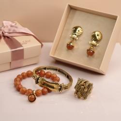 Conjunto Camila Klein Cillium Pedra Natural Ouro Velho