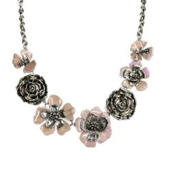 Colar S&B Acessórios Flores Rosas Prata Velho