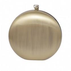 Bolsa Isla Clutch Redonda Metal Ouro Escovado