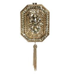 Bolsa Isla Clutch Cristais Tassel Correntes Dourada