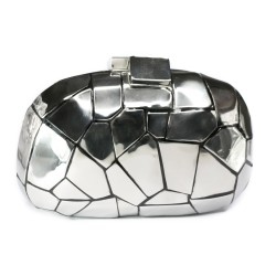 Bolsa Isla Clutch Oval Metal Craquelado Prata