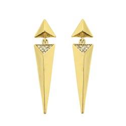 Brinco Claudia Arbex Arya Pirâmide Ouro Vintage