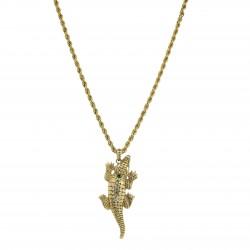 Colar S&B Acessórios Crocodylia Cristais Ouro Vintage
