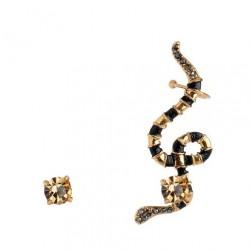 Brinco Monica Di Creddo Ear Cuff Serpente Coral Ouro Vintage