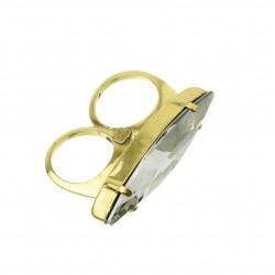 Anel T.Arrigoni Duplo Cristal Navete Ouro Vintage
