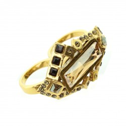 Anel Claudia Arbex Harm Duplo Cristais Color Ouro Vintage