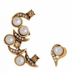 Brinco Monica Di Creddo Ear Cuff Flor de Lis Ouro Vintage