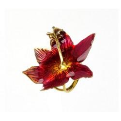 Anel Nadia Gimenes Flor Hibisco Esmaltado Rosa Dourado