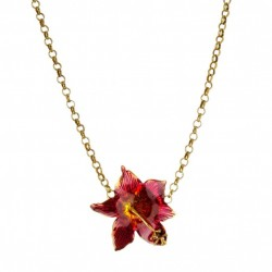 Colar Nadia Gimenes Flor Hibisco Esmaltado Rosa Dourado