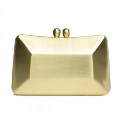 Bolsa Serpui Clutch Metal Escovado Retangular Dourada