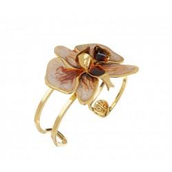 Bracelete Nadia Gimenes Orquídea Pérola Aro Duplo Dourado
