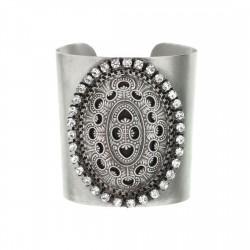 Bracelete Luiza Rogi Mandala Cristais Prata Envelhecido