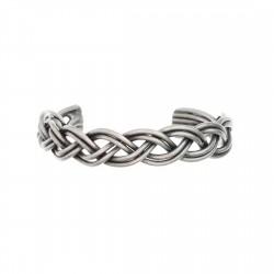 Bracelete Luiza Rogi Metal Tresse Prata Envelhecido