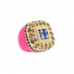 Anel S&B Acessórios Esmaltado Pink Ouro Velho