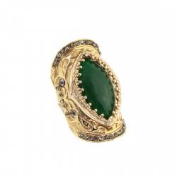 Anel S&B Acessórios Resina Verde Metal Ouro Velho