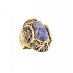 Anel S&B Acessórios Pedra Natural Azul Ouro Velho