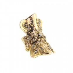 Anel S&B Acessórios Flor Metal Cristais Ouro Velho