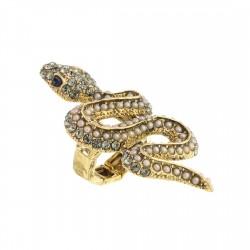 Anel S&B Acessórios Bichos Serpente Mini Pérolas Ouro Velho