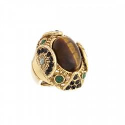 Anel S&B Acessórios Pedra Olho de Tigre Ouro Velho