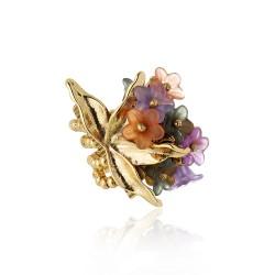 Anel Claudia Arbex Collab PatBo Penca Flores Ouro Vintage