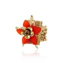 Anel Claudia Arbex Collab PatBo Flor Coral Ouro Vintage