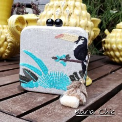 Bolsa Maria Chic Acessórios Clutch Bordada Tucano