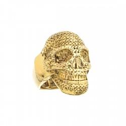 Anel S&B Acessórios Dark Caveira Metal Dourado