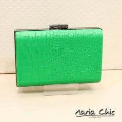Bolsa Maria Chic Acessórios Clutch Couro Croco Verde Bandeira