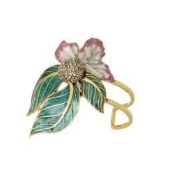Bracelete Nadia Gimenes Fada Rosa Aro Duplo Folhas Dourado