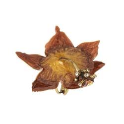 Anel Nadia Gimenes Hibisco Flor Cobre Dourado
