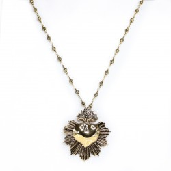Colar Morena Canela Sagrado Coração Ouro Vintage