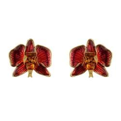 Brinco Nadia Gimenes Orquídea Rosa Pressão Dourado