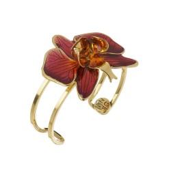 Bracelete Nadia Gimenes Orquídea Rosa Aro Duplo Dourado