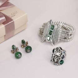 Conjunto Estela Geromini Verde Prata