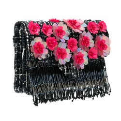 Bolsa Tweed Bordado Flores e Franjas Isla