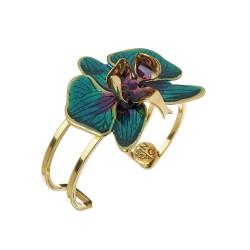Bracelete Nadia Gimenes Orquídea Turquesa Aro Duplo Dourado