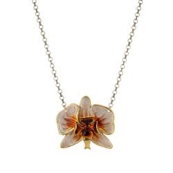 Colar Nadia Gimenes Orquídeas Pérola com Tartaruga Curto Dourado