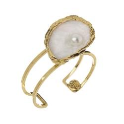 Bracelete Nadia Gimenes Ostra e Caracol Aro Duplo Esmaltada Dourado