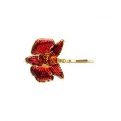 Grampo Nadia Gimenes Orquídea Rosa Dourado