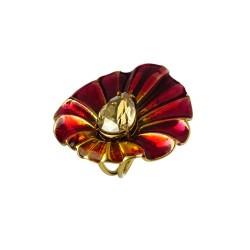 Anel Nadia Gimenes Flores Folha Maior Esmaltado Vermelho Dourado
