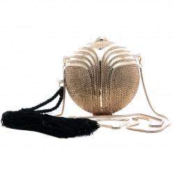 Bolsa Clutch Esfera Ouro com Cristais e Tassel Isla
