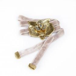 Colar Nadia Gimenes Choker Veludo Orquídea Ouro Vintage