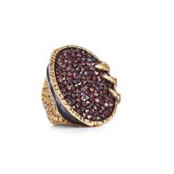 Anel Camila Klein Brotar Conceito Cristal Rock The Crown Ouro Velho
